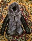 Новая кожаная куртка с натуральным мехом. Фото 1.