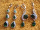 Серьги длинные три капли и кольцо розово-зеленое. Фото 4.