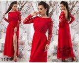 Красное длинное платье. Фото 1.