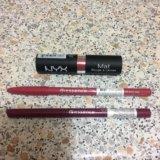 Помада nyx, карандаши д/г essence. Фото 1.
