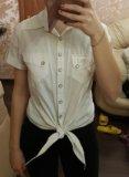 Белая рубашка с короткими рукавамм. Фото 1.