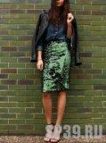 Юбка зеленая с пайетками. Фото 1.
