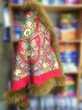 Утепленная накидка из павловопосадского платка. Фото 3.