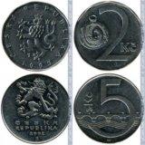 Монеты чехия 1993-2014. Фото 1.