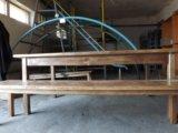 Стол и лавки деревянные. Фото 1.