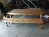Стол и лавки деревянные. Фото 2.