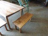Стол и лавки деревянные. Фото 3.