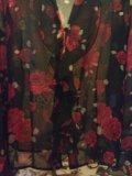 Блузка чёрная с красными розами, vivien caron.. Фото 3.