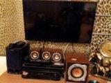 Dvd, видеомагнитофон, буфер с колонками. Фото 1.
