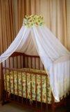 Бортик в кроватку и балдазин с держателем. Фото 1.