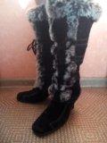 Сапоги зимние натуральная замша-мех. Фото 2.