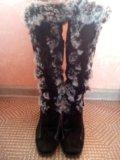 Сапоги зимние натуральная замша-мех. Фото 4.