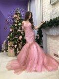 Платье розовое длинное в пол. Фото 2.