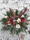 Новогодняя композиция в кашпо. Фото 1.