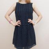 Платье темно-синее без рукавов zara. Фото 2.
