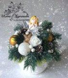 Новогодняя настольная композиция с ангелочком.. Фото 1.