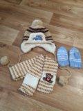 Шапка+шарф+варежки. Фото 1.