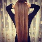 Наращивание русых волос 70 см. Фото 1.