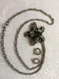 Бижутерия кулон на цепочке и серьги. Фото 1.