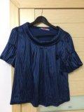 Синяя в полоску блузка р.44-46. Фото 1.