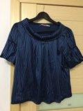 Синяя в полоску блузка р.44-46. Фото 2.