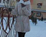 Шуба мутоновая(норка белая-воротник). Фото 1.