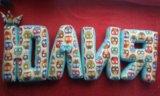 Буквы подушки из ткани ручной работы. Фото 3.
