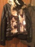 Куртка кожаная и жилетка меховая с кожей. Фото 1.
