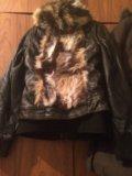 Куртка кожаная и жилетка меховая с кожей. Фото 2.