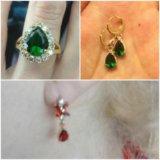 Серьги длинные три капли и кольцо розово-зеленое. Фото 2.