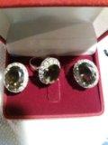 Серьги и кольцо из серебра 925 пр. Фото 2.