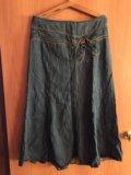 Юбка джинсовая в пол б/у и зелёная. Фото 3.