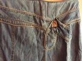 Юбка джинсовая в пол б/у и зелёная. Фото 2.