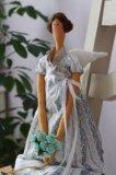 Кукла интерьерная тильда цветочный ангел. Фото 4.