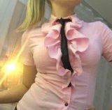 Блуза рубашка офисная розовая с жабо. Фото 3.