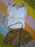 Новый комплект футболка + юбка/шорты. Фото 1.