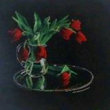 """Картина вышитая крестиком """"тюльпаны"""". Фото 1."""