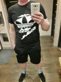 Новый костюм футболка + шорты adidas чёрные. Фото 2.