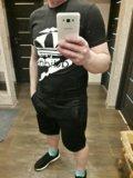 Новый костюм футболка + шорты adidas чёрные. Фото 3.