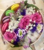 Живые цветы в подарочной упаковке. Фото 4.