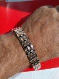 Серебряный мужской браслет с золотом. Фото 2.