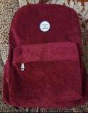 Вельветовый рюкзак винного цвета. Фото 1.