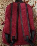 Вельветовый рюкзак винного цвета. Фото 2.