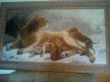 Картина львица, гобелен. Фото 1.