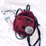 Рюкзак вельвет бордо. Фото 1.