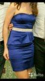 Платье с баской синие. Фото 2.