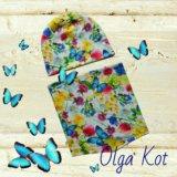 Комплект шапка+ снуд бабочки. Фото 1.