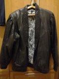 Куртка кожаная утепленная. Фото 2.