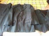 Костюм тройка серого цвета на 7-8 лет. Фото 1.