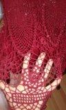 Нарядная вязанная юбка винного цвета. Фото 2.